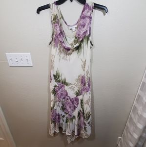 Purple floral beaded flapper retro cowl dress